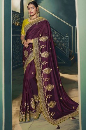 Embroidered Lace Work Purple Silk Saree With Blouse