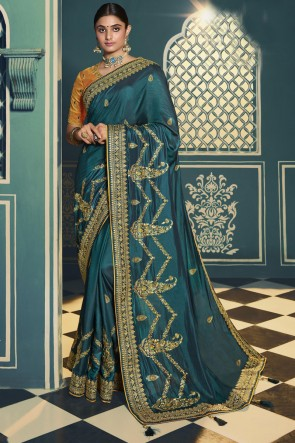 Teal Silk Embroidered Lace Work Designer Saree With Blouse