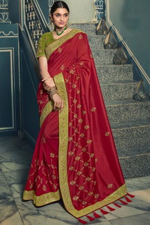 Embroidered Lace Work Red Silk Saree With Blouse