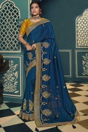 Blue Silk Embroidered Lace Work Designer Saree With Blouse