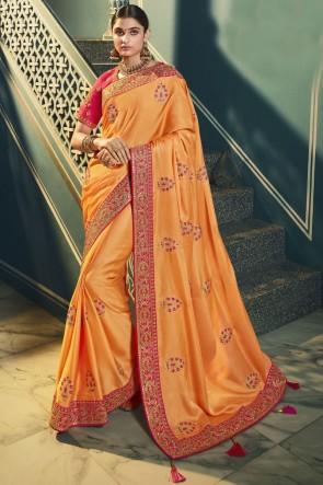 Silk Orange Embroidered Lace Work Designer Saree With Blouse