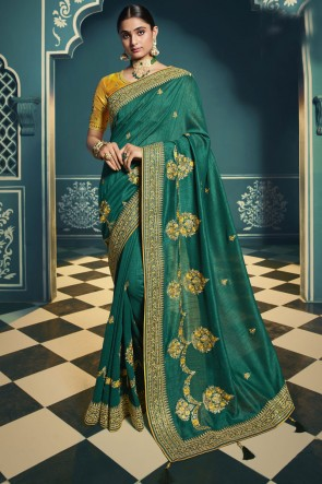 Embroidered Lace Work Green Silk Saree With Blouse