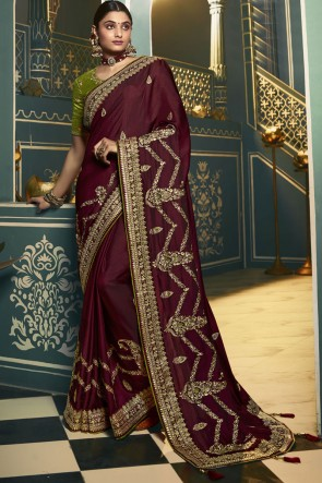 Embroidered Lace Work Designer Silk Maroon Lovely Saree With Blouse