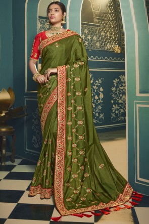 Green Silk Embroidered Lace Work Saree With Blouse