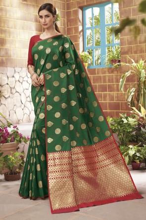 Green Silk Weaving Jacqard Work Designer Saree With Blouse