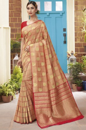 Silk Peach Weaving Jacqard Work Designer Saree With Blouse