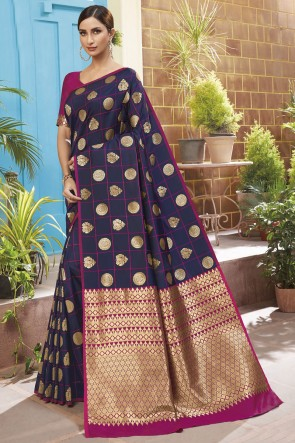 Weaving Jacqard Work Navy Blue Silk Saree With Blouse