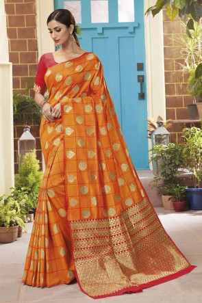 Silk Weaving Jacqard Work Designer Orange Lovely Saree With Blouse