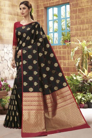 Black Silk Weaving Jacqard Work Saree With Blouse