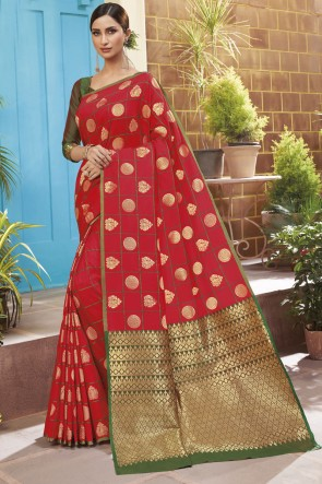 Stunning Red Silk Designer Weaving Jacqard Work Saree With Blouse