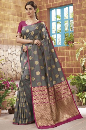 Weaving Jacqard Work Grey Golden Silk Saree With Blouse