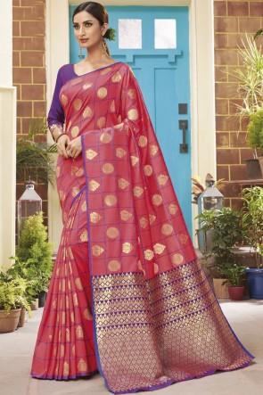 Pink Silk Weaving Jacqard Work Designer Saree With Blouse