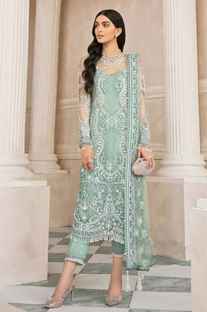 Embroidered Stone Work Net Navy Sea Green Plazzo Suit With  Dupatta