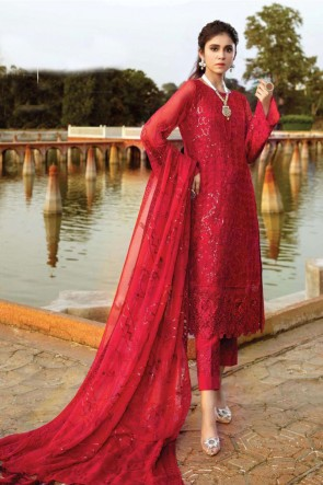 Red Georgette Embroidered Patch Work Pakistani Suit With Dupatta