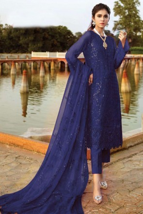 Embroidered Patch Work Blue Georgette Fabric Pakistani Suit With Dupatta