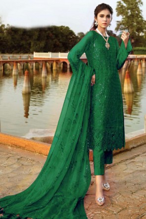Designer Green Embroidered Patch Work Georgette Pakistani Suit With Dupatta