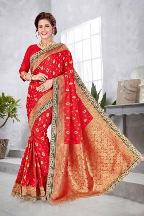 Banarasi Silk Fabric Red A Designer Saree With Double Blouse