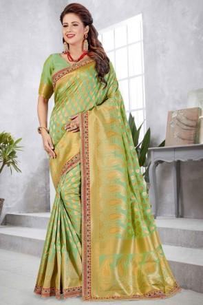 Green Banarasi Silk Fabric Weaving With Jacqaurd Work Designer Saree With Double Blouse