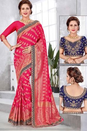 Stunning Pink Banarasi Silk Fabric Weaving With Jacqaurd Work Saree With Double Blouse