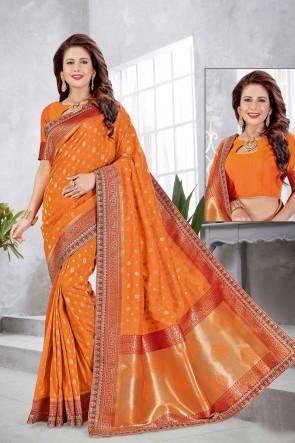Banarasi Silk Fabric Weaving With Jacqaurd Work Designer Orange Saree With Double Blouse