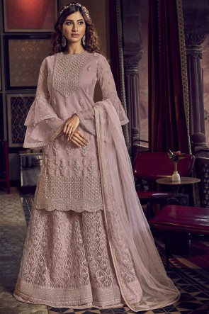Embroidered Stone Work Net Baby Pink Plazzo Suit With Net Dupatta