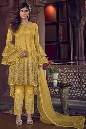 Yellow Embroidered Stone Work Net Fabric Plazzo Suit Whit Net Dupatta