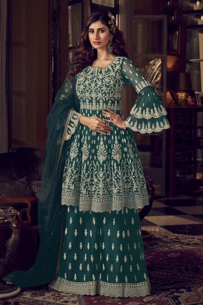 Embroidered Stone Work Net Fabric Green Plazzo Suit With  Net Dupatta