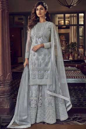 Net Embroidered Stone Work Designer Grey Plazzo Suit With Net Dupatta