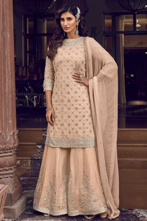 Embroidered Stone Work Georgette Peach Plazzo Suit With Georgette Dupatta
