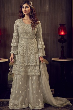Embroidered Stone Work Net Fabric Beige Plazzo Suit With  Net Dupatta