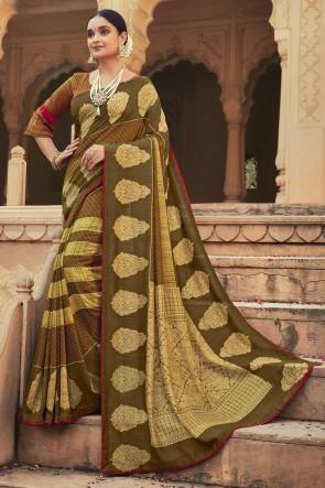 Multicolor Chanderi Silk Fabric Stone Work Designer Saree With Blouse