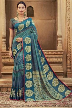 Stunning Sky Blue Chanderi Silk Fabric Stone Work Saree With Blouse