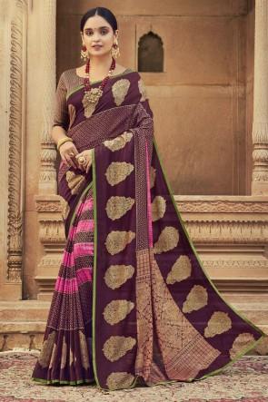 Chanderi Silk Fabric Stone Work Designer Wine Lovely Saree With Blouse