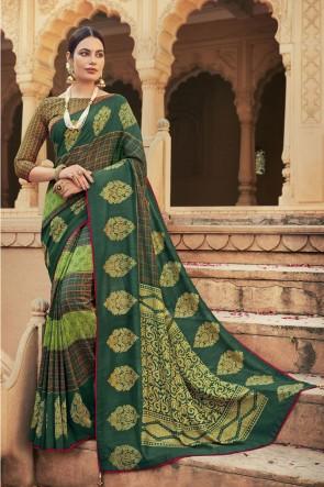 Green Chanderi Silk Fabric Stone Work Designer Saree With Blouse