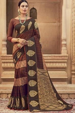Stunning Multicolor Chanderi Silk Fabric Stone Work Saree With Blouse