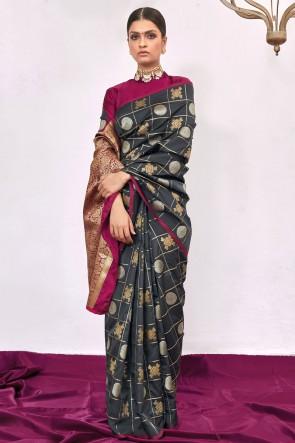 Weaving With Jacqaurd Work Black Weaving Silk Fabric Saree With Blouse