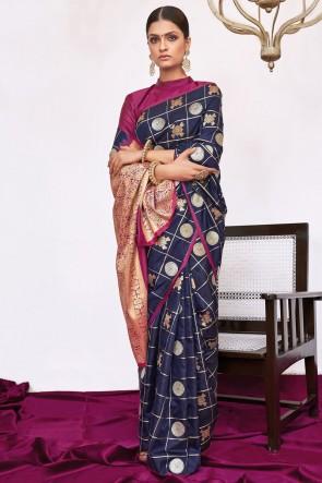 Stunning Navy Blue Weaving Silk Fabric Weaving With Jacqaurd Work Saree With Blouse