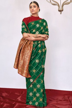 Weaving Silk Fabric Weaving With Jacqaurd Work Designer Green Lovely Saree With Blouse