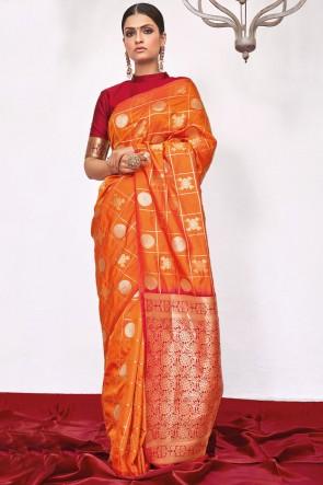 Orange Weaving Silk Fabric Weaving With Jacqaurd Work Designer Saree With Blouse