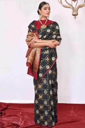 Weaving Silk Fabric Black A Designer Saree With Blouse