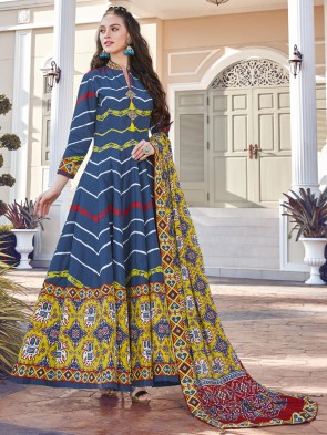 Silk Digital Printed Designer Blue Anarkali Suit With  Dupatta