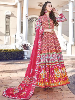 Digital Printed Silk Fabric Multicolor Anarkali Suit With   Dupatta