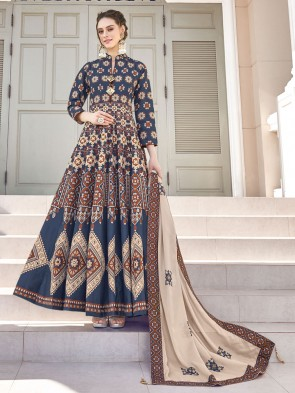 Blue Digital Printed Silk Fabric Anarkali Suit Whit  Dupatta