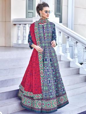 Silk Digital Printed Designer Blue Anarkali Suit With  Dupatta