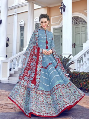 Digital Printed Silk Sky Blue Anarkali Suit With  Dupatta