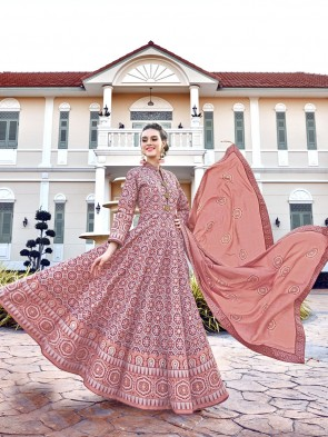 Silk Digital Printed Designer Peach Anarkali Suit With  Dupatta