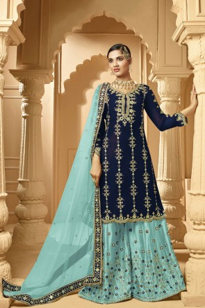 Faux Georgette Embroidery Designer Navy Blue Plazzo Suit With Net Dupatta