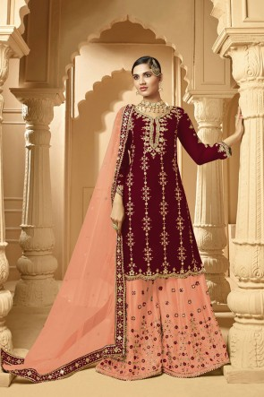 Embroidered Faux Georgette Fabric Maroon Plazzo Suit With Net Dupatta