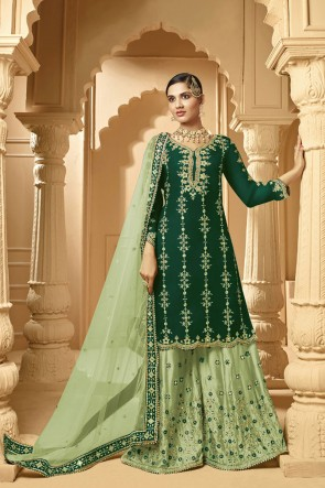 Green Embroidered Faux Georgette Fabric Plazzo Suit Whit Net Dupatta
