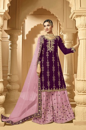 Violet Embroidered Faux Georgette Fabric Plazzo Suit Whit Net Dupatta